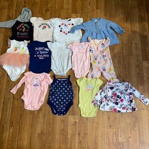 12 Baby girl size 0-3 month body suits